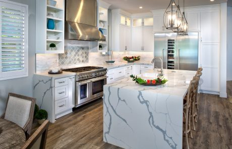 waterfall white quartz countertop