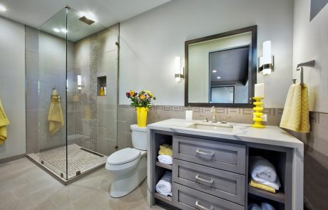 gray bathroom with walk-in shower