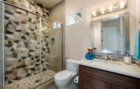 geometric shapes tile in shower